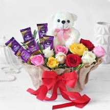 Basket of Mixed Roses with Dairy Milk Chocolates & Teddy