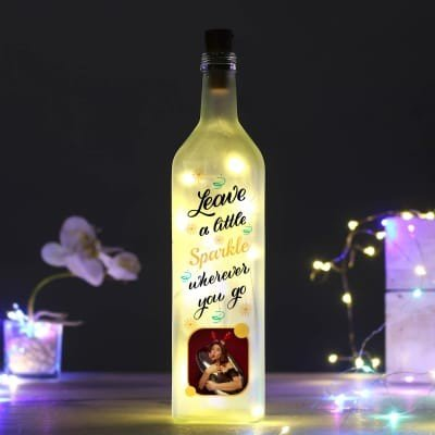 Personalized Inspirational Quote Yellow Led Bottle valentine gift